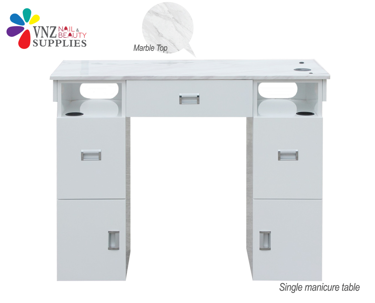 Single Manicure Table Marble Top (Black&White)