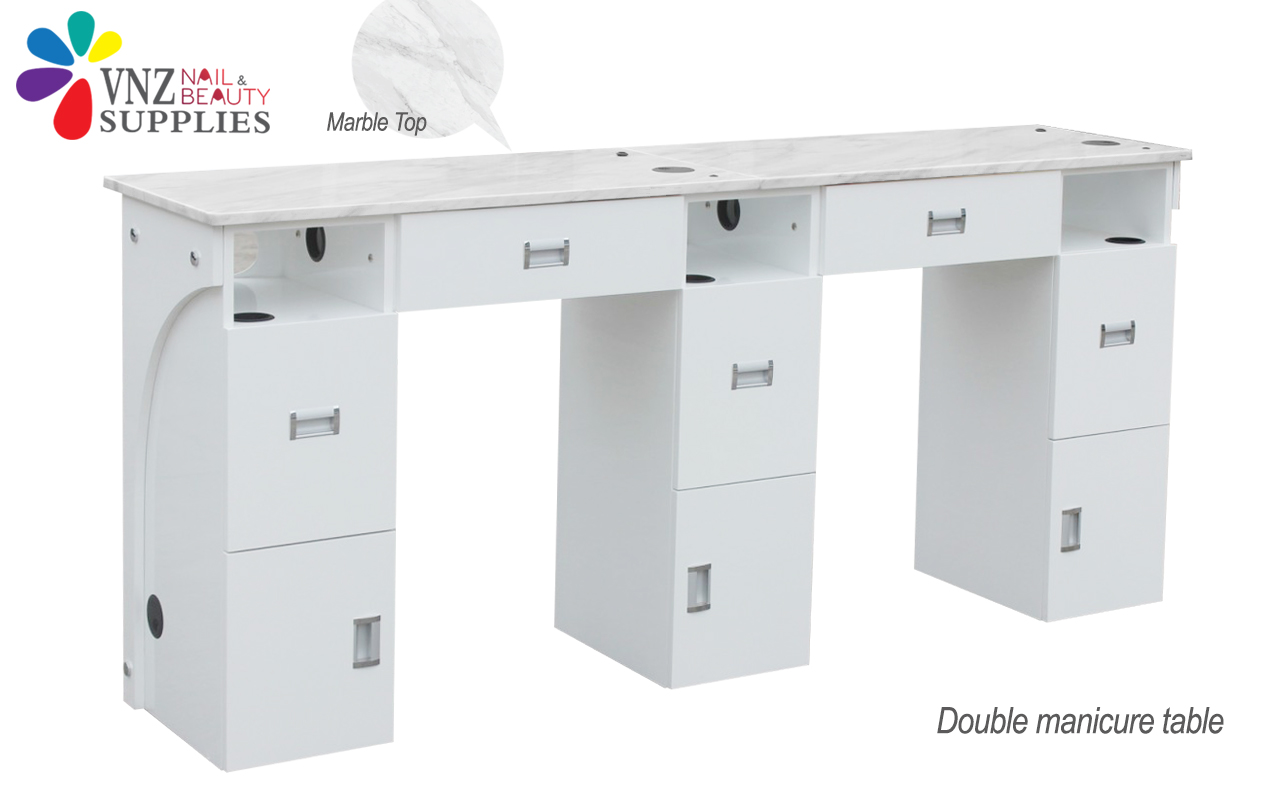 Double Manicure Table Marble Top (Black&White)