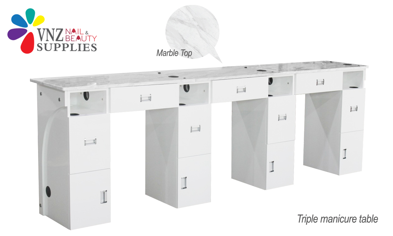 Triple Manicure Table Marble Top (Black&White)